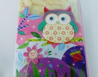 double birthday card in 3D owls with moving eyes and envelope color beads