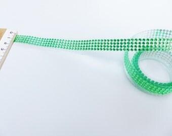 1 meter of washi tape with green green tape diamond rhinestones