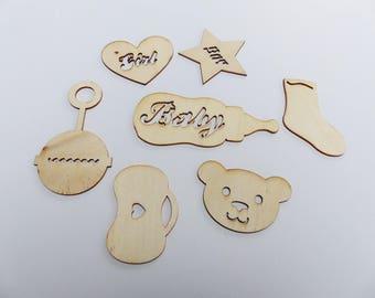 7 embellishments wooden theme baby boy and girl Teddy bear rattle baby bottle baby girl and boy