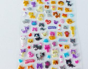 sheet of stickers in relief cat kitten