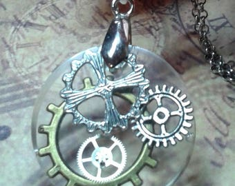 Resin pendant necklace and gears. Steampunk
