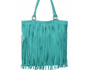 SAC à main shopping fringed leather woman