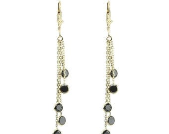 14k Yellow Gold Chandelier Earrings with Round Black Cubic ZIrconia Stations By The Yard