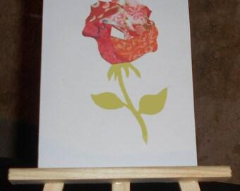 Red pink iris folding card