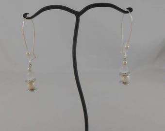Earrings Pearl stardust 8 mm and 8 mm white glass Pearl