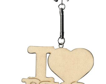 Text I Love Mommy I love dad 8 x 5 cm mother father father's day gift CUSTOMISATION wooden keychain