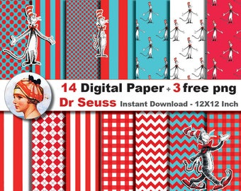 14 x Dr seuss paper + 3 FREE PNG -  the cat in the hat paper- Digital paper patterns - Scrapbooking Paper, Instant Download (No. 1)