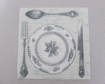 Large Grey dinner paper napkin.