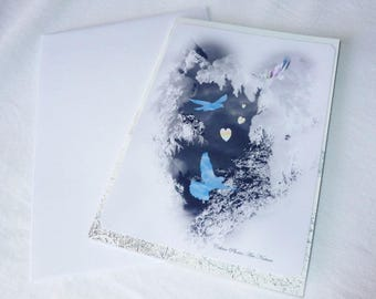 """Double 10 5x15cm made from a photo of snow, hearts and birds """"Arrival of spring"""""""
