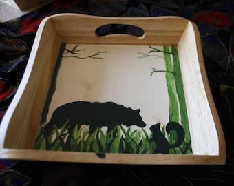 tray wood bear