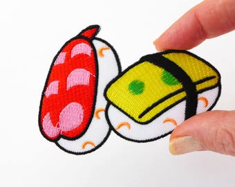 Sushi Patch, Sushi Applique, Japanese Food Patch, Weird Patches, Fun Japanese Patch Iron On Patches for Jackets