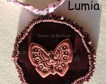 """Ceramic Butterfly """"Lumia"""" leatherette necklace"""