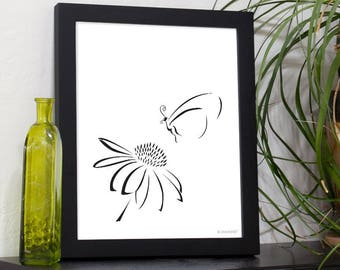 Minimalist Design-Butterfly and flower, printable art for your home.