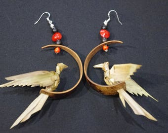 """Earrings: """"3D bird"""" woven coconut leaves and gourd"""