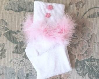 Pink Feather Ankle Socks, Pink Socks, Ddlg Socks, Adult Bobby Socks, Pink Socks, Bobby Socks