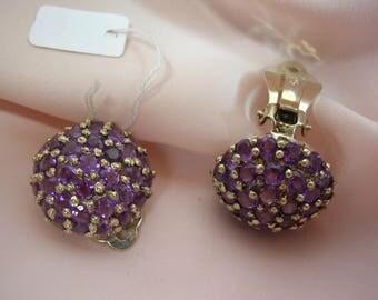 Clip earrings in stone of amethyst on Sterling Silver 925 - OOAK