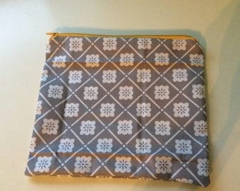 Gray and Yellow Zipper Pouch