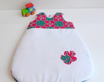 Sleeping bag sleeping bag 0-6 months handmade raspberry @lacouturebytitia Wax flowers