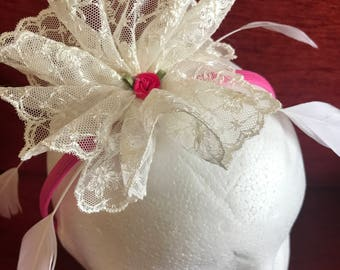 Cream Lace, pink, trim, fascinator, coque feathers