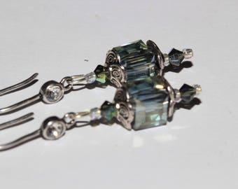 Gray Crystal cube earrings