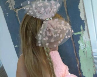 Pink Polka Dot Big Bow with hand sewn Jewels