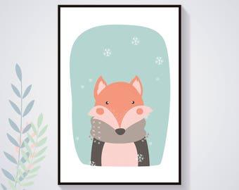 Affiche Poster Renard Hiver Pastel Nature Illustration Déco Chambre Enfant Bébé Affiche Enfant Affiche Bébé Animal Art Numérique