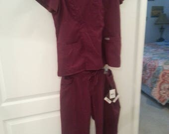 Wine colored scrubs fitted comfortable