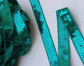 """Mint green"" Ribbon 2 cm Vanessa Bruno 5 row Sequin Paillette"