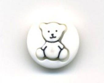 Button round white Teddy bear