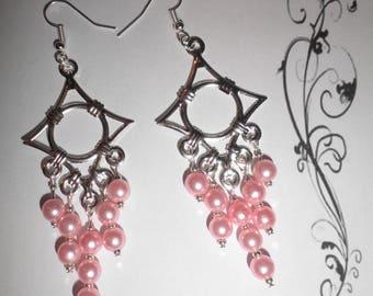 00472 - Pink tone Pearl chandelier earrings