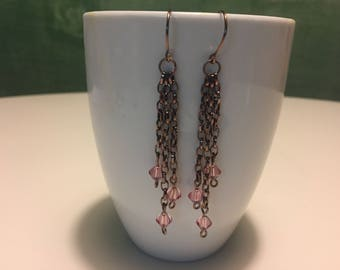 Chain link dangle earrings with pink Swarovski gems