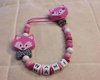 Theme pink Fox pacifier and bow tie