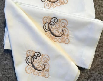Cloth napkins  personalized monogrammed/embroidery cloth napkins  dinner personalized wedding gift cotton napkins