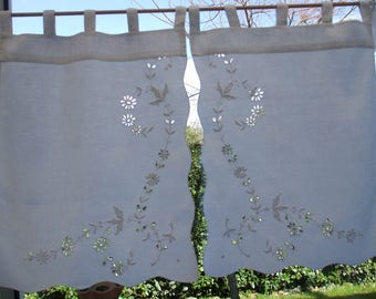 Pair of curtains breeze-view(-sight) antique linen and broderie anglaise handmade 70 X 50 cm