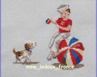 "Embroidery Pt cross ""Games of beach - ball"" - v pattern - custom"