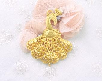 golden rooster 65x51mm Golden filigree large pendant
