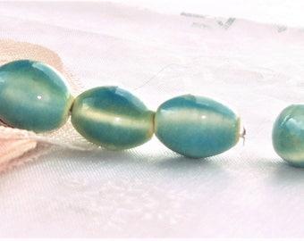 10 beads ceramic porcelain blue past 11 mm x 8 mm large hole 2 mm