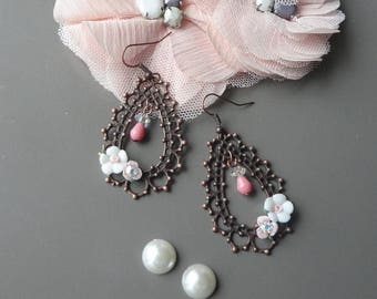 Earring romantic Pearl copper rhinestone ab cristalent porcelain flower