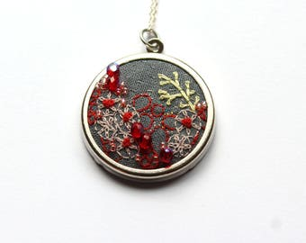 Ruby embroidered coral reef necklace