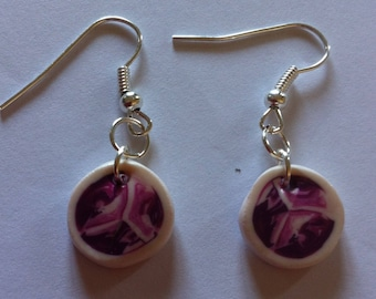 Fimo earrings round pink variation