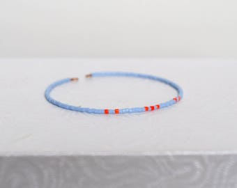 Miyuki bracelet pale blue and coral beads
