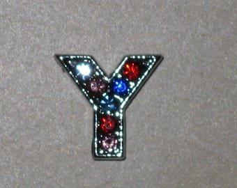 Letter Y multicolored rhinestone slide bead