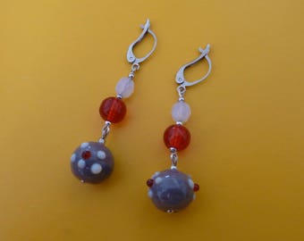 Lobe earrings, sparkling and colorful