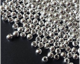 Beads silver tone round