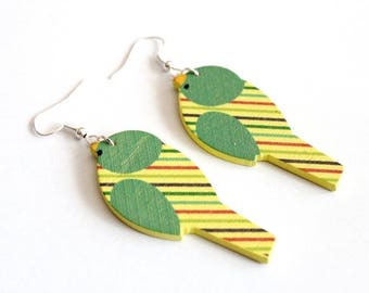Earrings green/yellow wooden birds