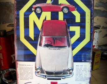 british MG cars by deco cars metal plate