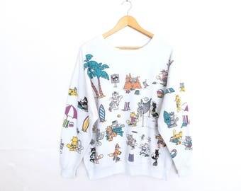 Lifestyles Cat Full Print 80s Pullover Jumper Sweatshirt