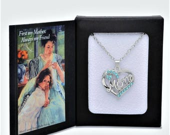 Mom Necklace Heart Pendant Necklace Great Gifts for Mom Silver Plated in Presentation Gift Box--An Expression of Love Beyond Jewelry!