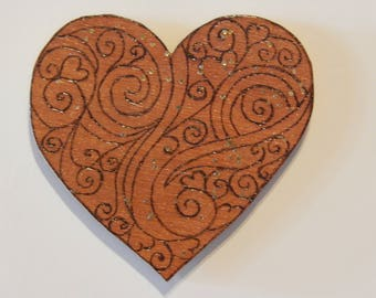Large wood Pyrograve heart magnet