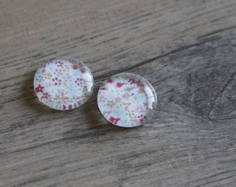 1 cabochon clear 14mm liberty pattern pastel pink and blue